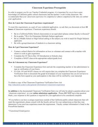 Classroom Experience Information