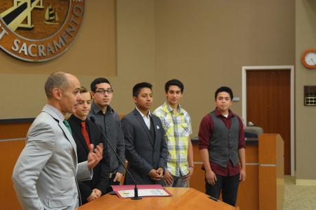 From left: Mayor Christopher Cabaldon, Roman Skachkov,Erick Zarate, Cesar Cortez, Davis Montano, Kevin Merino