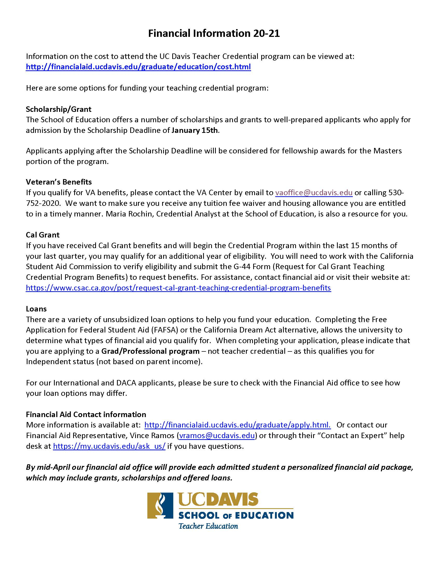 Fees And Financial Aid For Teaching Credential Uc Davis School Of