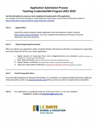 Uc Davis 2021-2022 Calendar How to Apply   Teaching Credential   UC Davis School of Education