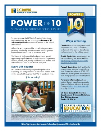 Image of Power of 10: Support for Student Scholarships