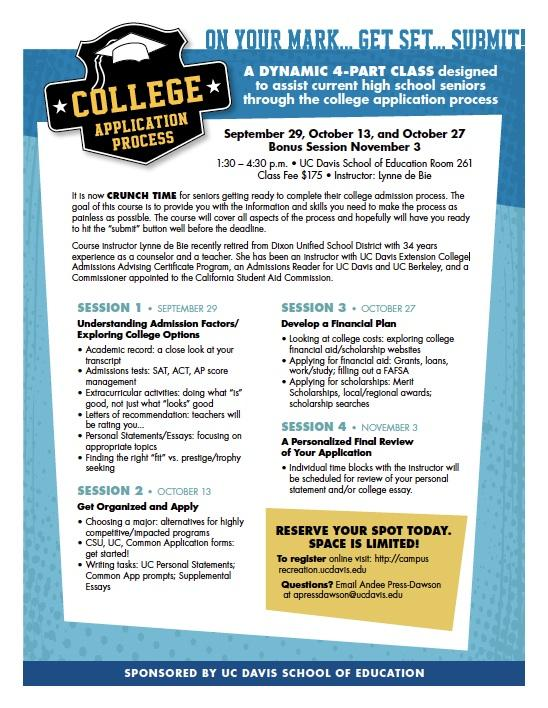 Course For High School Seniors College Application Process Four Classes September
