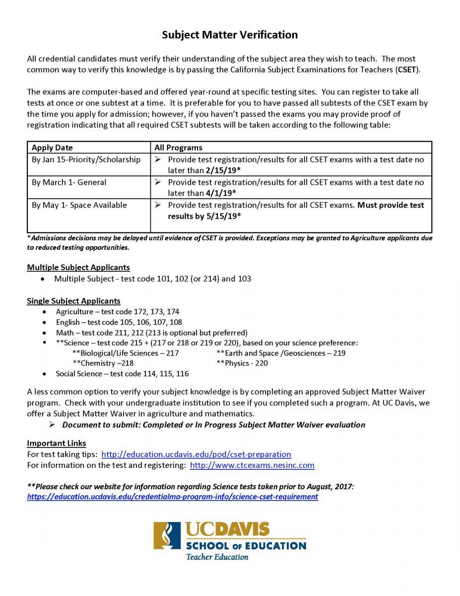 5  Subject Matter Verification - UC Davis School of Education