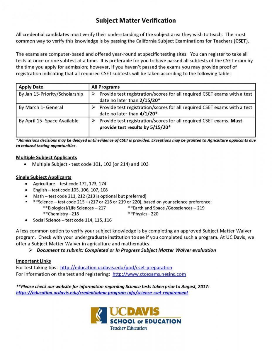5  Subject Matter Requirement (SMR) Verification - UC Davis