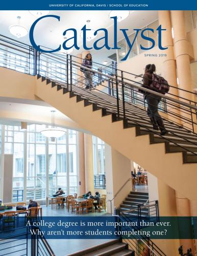 Cover image of Catalyst magazine, students walk up stairs at Peter J. Shields Library