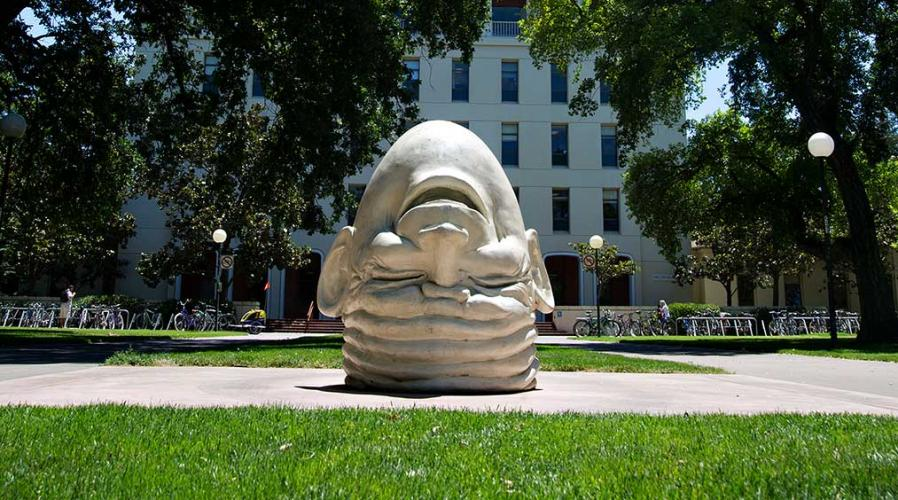 UC Davis Egghead sculpture outside Mrak Hall