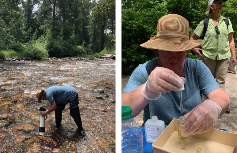 Researchers collect water samples