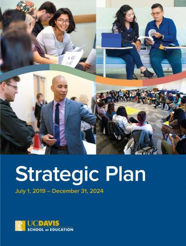 Cover image of Strategic Plan, including photos of students presenting research, sitting in an audience, reading a book and sitting in a circle of chairs