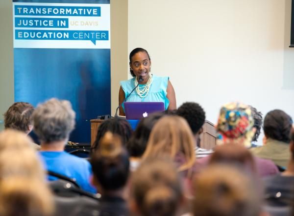 Prof. Maisha Winn presents at a conference